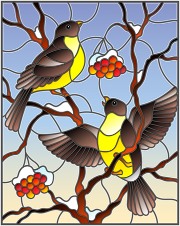 Illustration in stained glass style with a pair of birds titmouses on snow-covered mountain ash branches with berries on a background of the sky