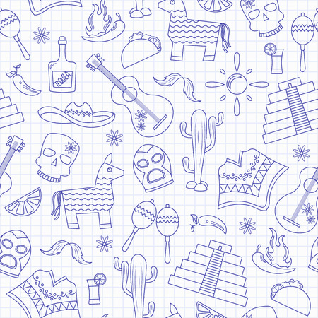 Seamless pattern on the theme of recreation in the country of Mexico, contour icons, blue contour icons on the clean writing-book sheet in a cage