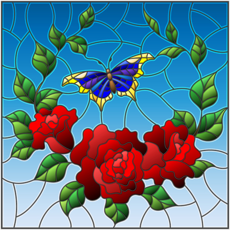 Illustration in stained glass style with red flowers and leaves of rose, and blue butterfly    square picture Vector illustration. Ilustrace