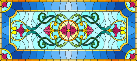 illustration in stained glass style with abstract swirls, flowers and leaves on a light background, horizontal orientation Vector illustration.
