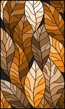 Illustratie in gebrandschilderd glasstijl met bladeren van bomen, bruine toon, sepia