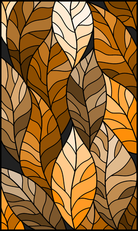 Illustration in stained glass style with leaves of trees, tone brown, sepia