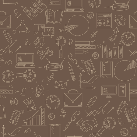 Seamless pattern with simple hand-drawn icons on a theme business,beige outline on a brown background Ilustrace