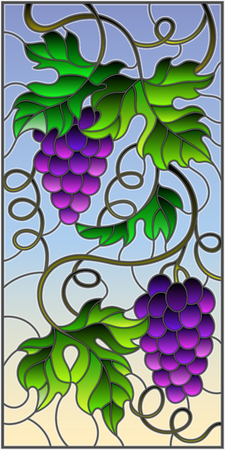 The illustration in stained glass style painting with a bunch of red grapes and leaves on a sky background,vertical image Illustration