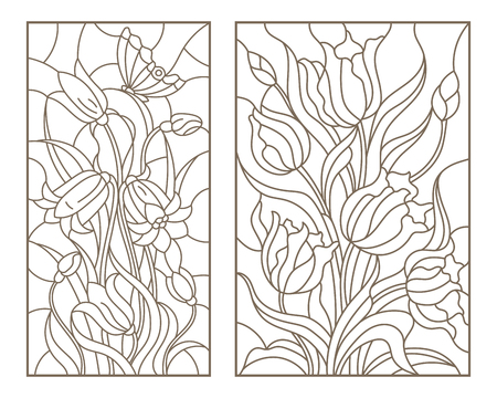 Set of contour stained glass illustrations with bouquets of flowers, tulips and flowers bells, dark outlines on white background