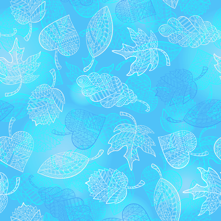 Seamless pattern with contour lacy light leaves of different trees on a blue background Stock Illustratie