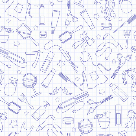 Seamless pattern on the theme of the Barber shop, the tools and accessories of the hairdresser, a simple contour icons, blue contour icons on the clean writing-book sheet in a cage