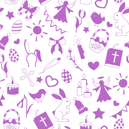 Seamless pattern with simple contour icons on a theme the holiday of Easter  purple silhouettes icons on a white background