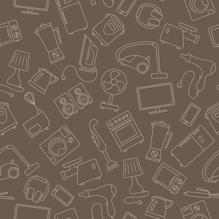 Seamless background with a simple contour icons on the topic of household appliances, beige outline on a brown background Illustration
