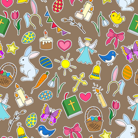 Seamless pattern with simple icons on a theme the holiday of Easter  colored patches icons on brown background