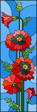 Illustration in stained glass style with a bouquet of red poppies on a blue background, vertical orientation