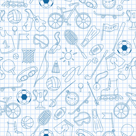 Seamless pattern on the theme of summer sports, simple blue contour icons on the clean writing-book sheet in a cage Vettoriali
