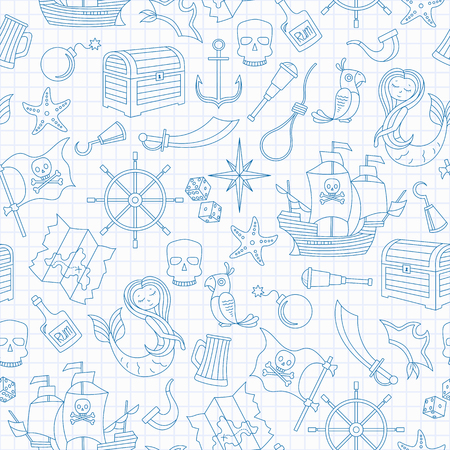 Seamless illustration of the topic of piracy and sea travel outline icons, blue contour icons on the clean writing-book sheet in a cage