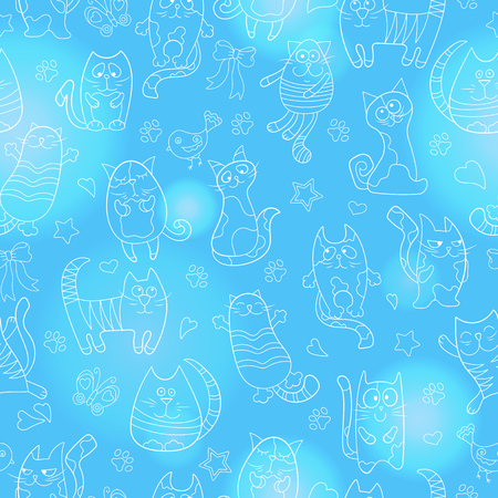 Seamless pattern with contour images cartoon cats , light contour on blue background