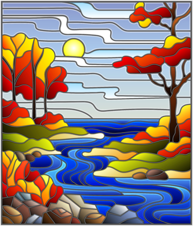 Illustration in stained glass style with a rocky Creek in the background of the Sunny sky, lake, trees and fields,autumn landscape