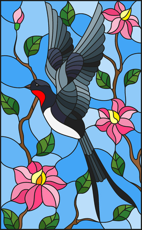 Illustration in stained glass style with swallow on background of the sky ,greenery and pink flowers Ilustração