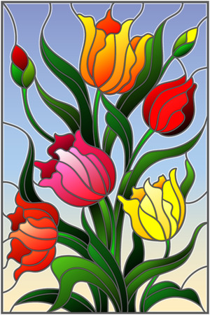 Illustration in stained glass style with a bouquet of colorful tulips on a sky background Ilustração