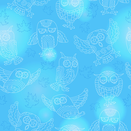Seamless pattern with contour cute owls and autumn leaves,a light outline on a blue background