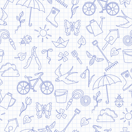Seamless pattern with simple contour icons on the theme of spring ,blue  contour  icons on the clean writing-book sheet in a cage