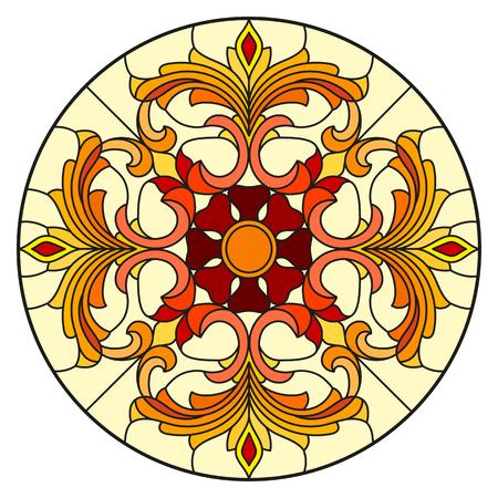 Illustrazione nello stile del vetro macchiato con i fiori, le foglie ed i turbinii astratti, immagine circolare su fondo bianco