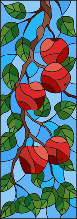Illustration in the style of a stained glass window with the branches of Apple trees , the fruit branches and leaves against the sky,vertical orientation Illustration