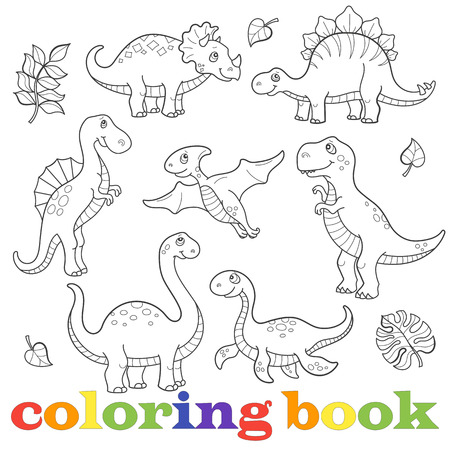 Set of funny cartoon dinosaurs contour, isolated on a white background, the coloring book Stock Illustratie
