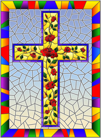 Illustration in stained glass style with Christian cross decorated with pink roses on sky background in bright frame