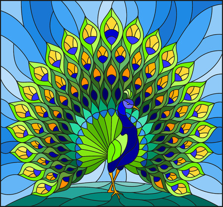 Illustration in stained glass style with colorful peacock on blue sky