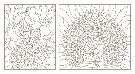 Set of outline illustrations stained glass Windows with peacocks, dark outlines on white background