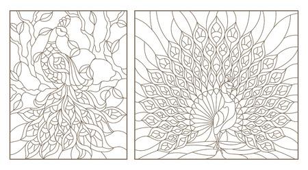 Zestaw ilustracji konspektu witraże z pawiami, ciemne kontury na białym tle Ilustracje wektorowe