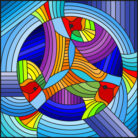 Illustration in stained glass style with abstract geometric rainbow fish on blue background