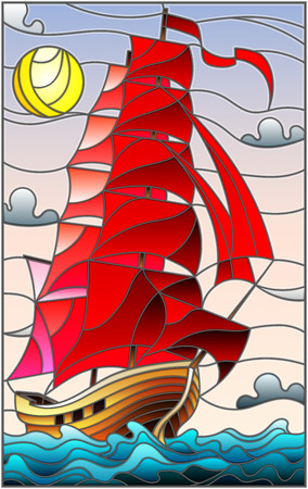 Illustration in stained glass style with an old ship sailing with red sails against the sea, sun and sky, seascape