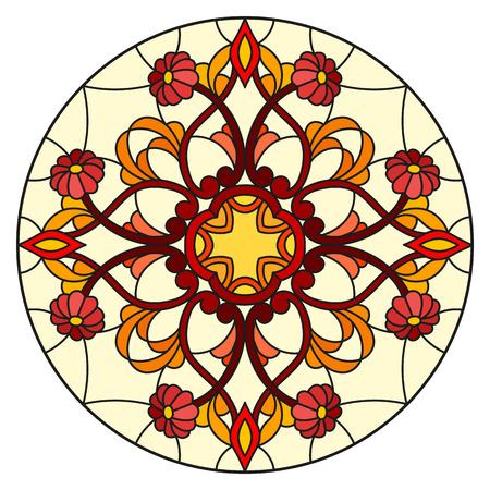 Illustrazione nello stile del vetro macchiato con i fiori, le foglie ed i turbinii astratti, immagine circolare su fondo bianco Vettoriali