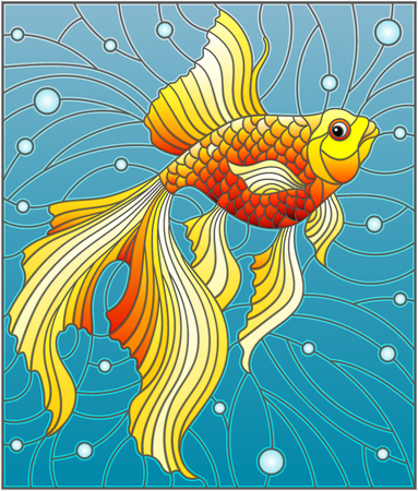 Illustration in stained glass style with bright gold fish on the background of water and air bubbles