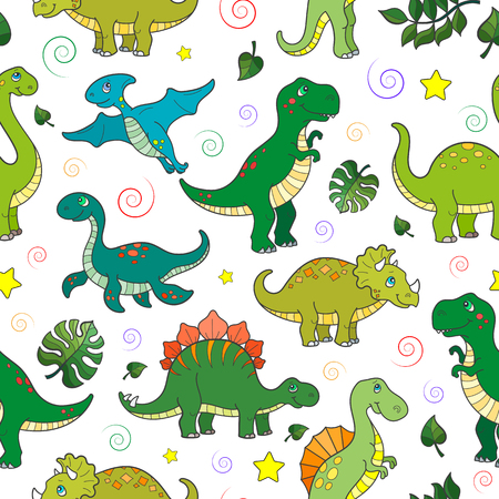 Seamless pattern with colorful dinosaurs and leaves, animals on white background Ilustração