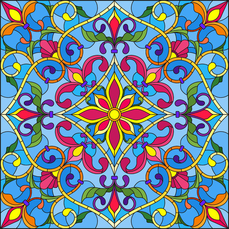 Illustrazione in stile di vetro colorato, immagine speculare quadrata con ornamenti floreali e turbinii Vettoriali