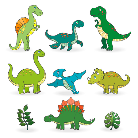 Set of funny cartoon dinosaurs isolated on white background Çizim