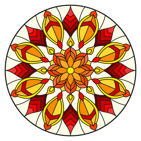 Illustration in stained glass style with abstract flowers, leaves and swirls, circular image on white background Vettoriali