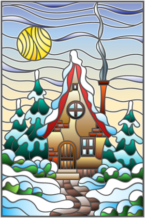Illustration in vintage style winter landscape, village house and fir-trees on a background of snow, sky and sun 일러스트