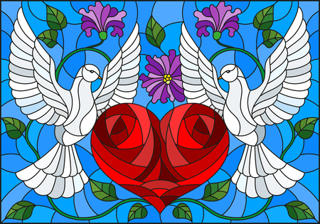 Illustration in stained glass style with a pair of pigeons and a heart against the sky and flowers