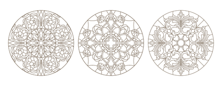 Set contour illustrations of stained glass, round stained glass floral, dark outline on a white background Vectores