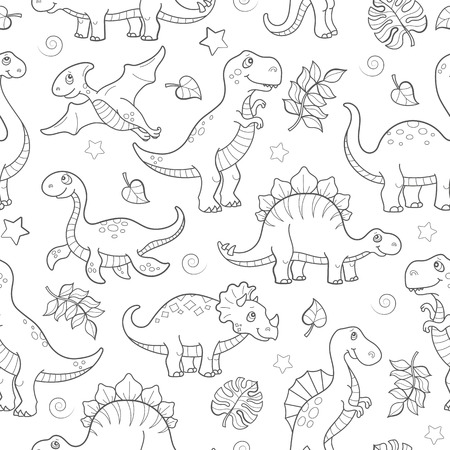 Seamless pattern with dinosaurs and leaves, contoured animals on white background