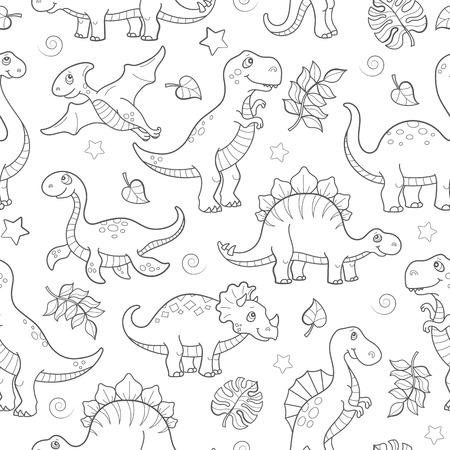 Naadloos patroon met dinosaurussen en bladeren, voorgevormde dieren op witte achtergrond