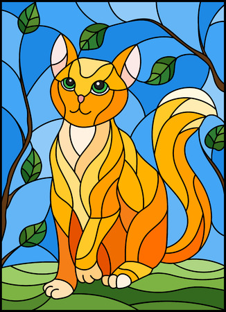 Illustration in stained glass style with red cat against the sky and tree branches