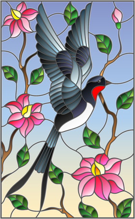 Illustration in stained glass style with swallow on background of the sky ,greenery and pink flowers Ilustracja