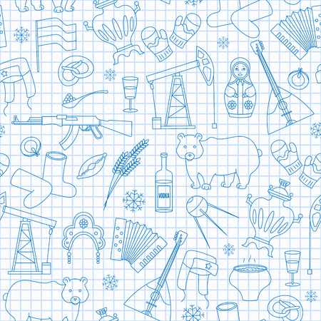 Seamless pattern on the theme of travel in the country of Russia, a simple outline of cartoon icons with a typical country characters, blue  contour  icons on the clean writing-book sheet in a cage