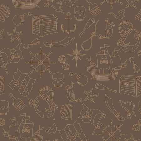 Seamless pattern of the topic of piracy and sea travel outline icons, beige contour on brown background