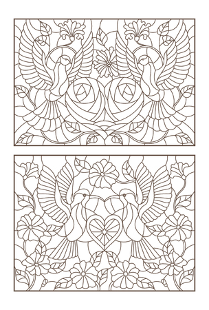 Set of outline illustrations of stained glass with birds and flowers, doves and hummingbirds, dark outlines on white background