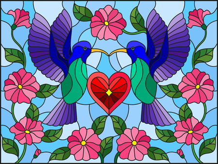Illustration in stained glass style with a pair of hummingbirds and a heart against the sky and flowers