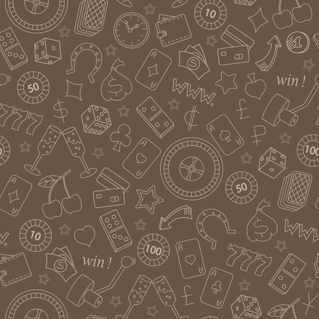 Seamless pattern on the theme of gambling and money simple beige outline on a brown background Illustration